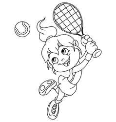 outlined tennis girl vector image vector image