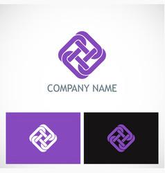 unity circle chain square logo vector image