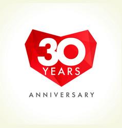 30 anniversary heart logo vector