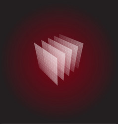 abstract shape red geometric visualization vector image