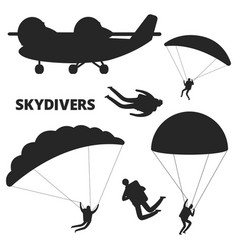 airplane and skydivers silhouettes isolated vector image