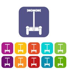 Alternative transport vehicle icons set flat vector