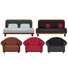 Armchairs and sofa in different design vector