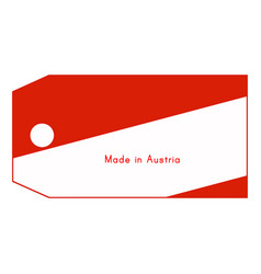 Austria flag on price tag with word made in vector
