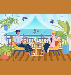 Breakfast on guest house or resort terrace scene vector