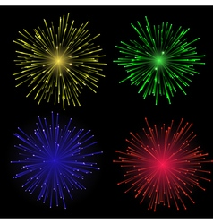 Bright abstract festive fireworks set vector