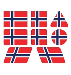 buttons with flag of Norway vector image
