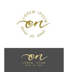 c n initials monogram logo design dry brush vector image