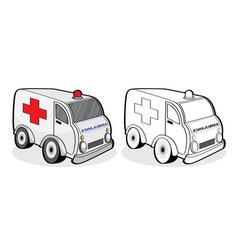 car ambulance emergency patient people hurt vector image