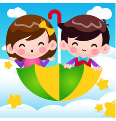 Cartoon boy and girl riding flying umbrella vector