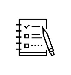 Check list - line design single isolated icon vector