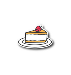Cheesecake with strawberry patch vector