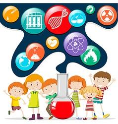 Children and science symbols vector
