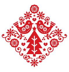 Christmas scandinavian folk greeting card vector