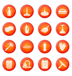 cleaning icons set red vector image