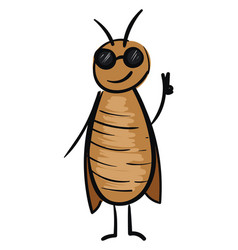 Cockroach character with sunglasses on white vector