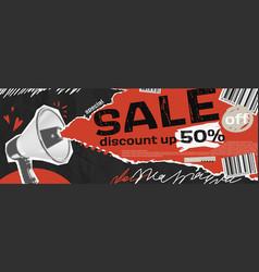 Collage grunge banner loudspeaker vector