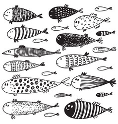 collection of hand drawn cute fish in sketch style vector image