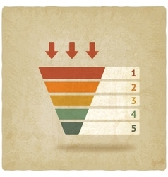 Color marketing funnel symbol old background vector