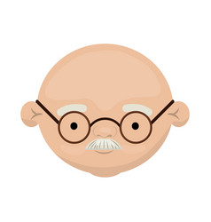 colorful face of bald grandfather with moustache vector image
