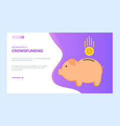 crowdfunding charity project pig box gold coin vector image