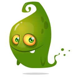 Cute cartoon green ghost Halloween vector image
