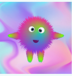 Cute furry monster on abstract background in vector