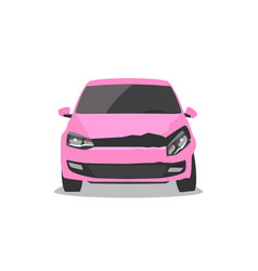 Damaged pink car front view vector