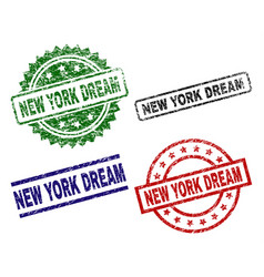 damaged textured new york dream stamp seals vector image