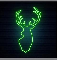 deer green neon sign bright light reindeer vector image