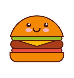 Delicious burger kawaii character vector