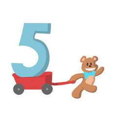 design of a cute bear and the number 5 vector image