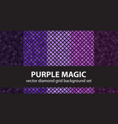 Diamond pattern set purple magic seamless vector