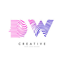 dw d w zebra lines letter logo design with vector image