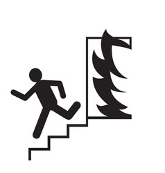 emergency exit silhouette man running signs vector image