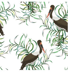 exotic bird tropical leaves seamless white vector image