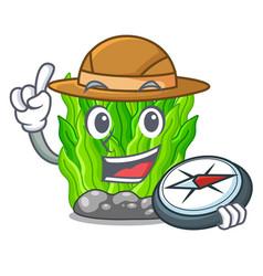 Explorer miniature green seaweed above mascot vector