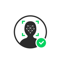 Face id scanner logo with check mark vector