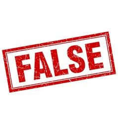False red square grunge stamp on white vector