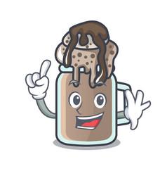 Finger milkshake mascot cartoon style vector