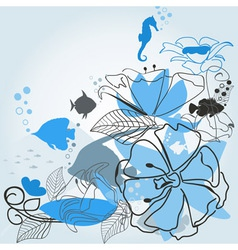 Fishes a flower vector