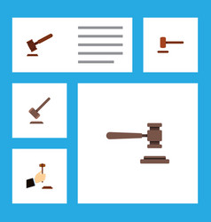 Flat icon hammer set of tribunal law defense and vector