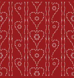 flowers in hearts seamless pattern vector image