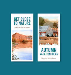 flyer template with landscape in autumn design vector image