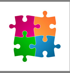 Four colored puzzle pieces abstract symbol icon vector