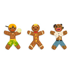 gingerbread man characters set traditional sweet vector image