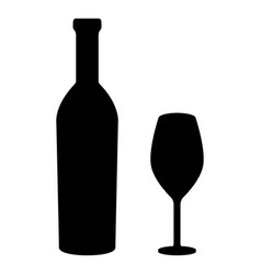 Glass and bottle of wine black silhouette vector