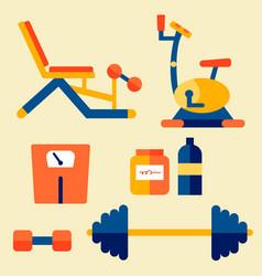 gym workout equipment set vector image