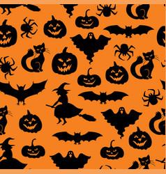 halloween symbols pattern seamless vector image
