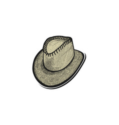 Hand drawn hat cowboy logo designs inspiration vector